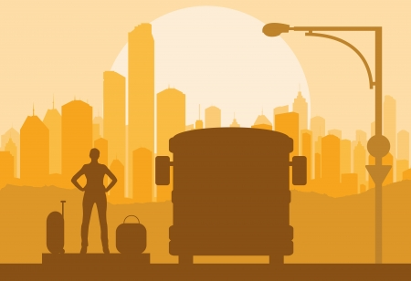 Passenger bus and waiting traveler with luggage in front of city vector background Vector