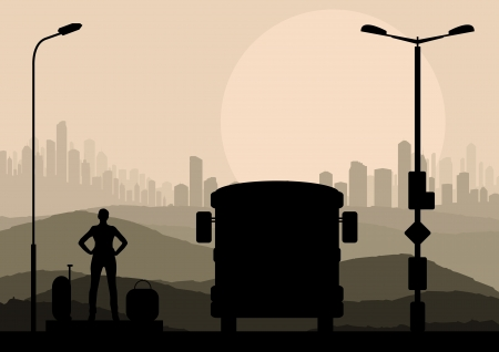 moving home: Passenger bus and waiting traveler with luggage in front of city vector background