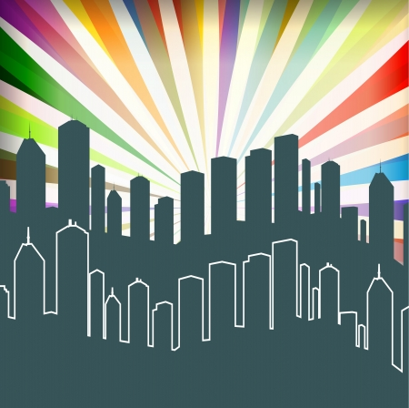 City and burst background vector for poster Stock Vector - 13820833