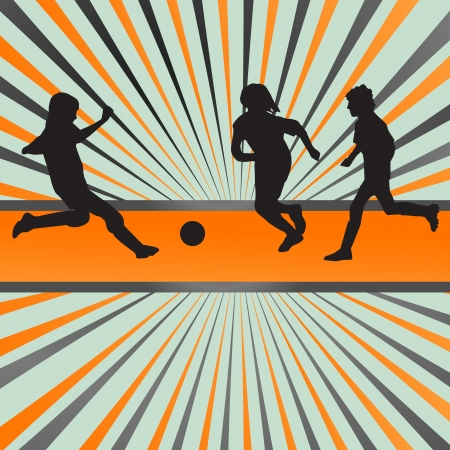 goal kick: Kids playing soccer vector background