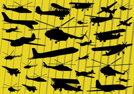 fighter pilot: Airplanes and helicopters detailed silhouettes illustration collection background vector