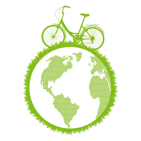 motor oil: Green ecological bicycle driving planet vector background concept