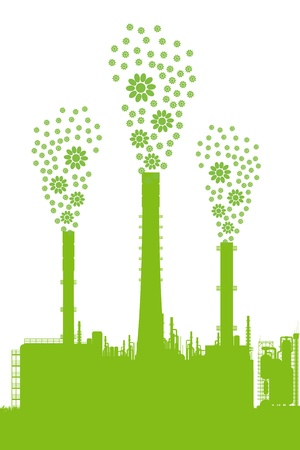 Green ecology factory concept vector background for poster Stock Vector - 13820872