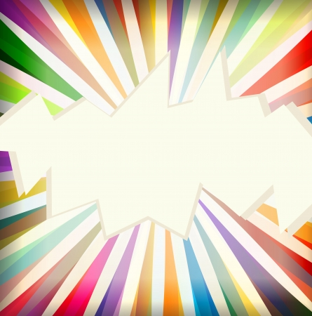 Colorful template with retro sun burst background vector Vector