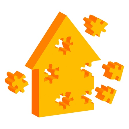 Colorful jigsaw puzzle house vector background for poster Vector