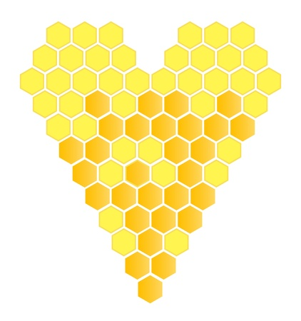 Honeycomb heart vector background for poster Vector