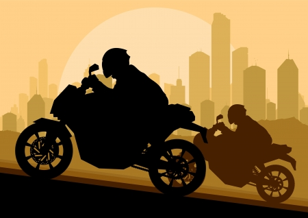Sport motorbike riders motorcycle silhouettes in skyscraper city landscape background illustration vector Vector