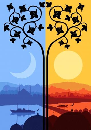allah: Weinlese-arabische Stadt-Landschaft bei Tag und Nacht Zyklus Illustration Hintergrund Vektor Illustration