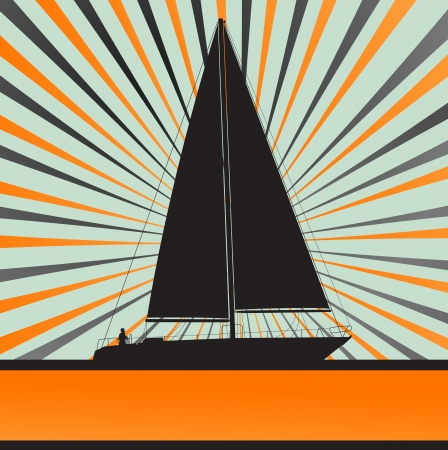 regatta: Yacht sailing burst vector background for poster