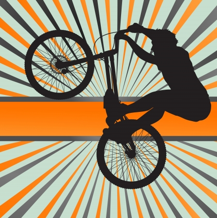 Mountain biking burst vector background for poster Vector