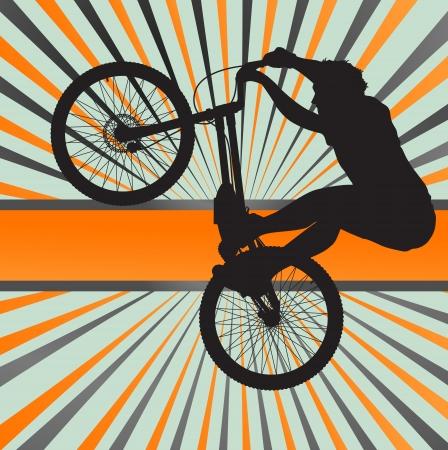 Mountain biking burst vector background for poster Vector