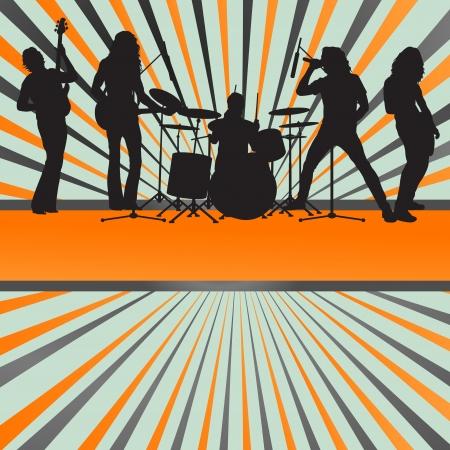 La banda de rock concierto estallido de vectores de fondo para el cartel