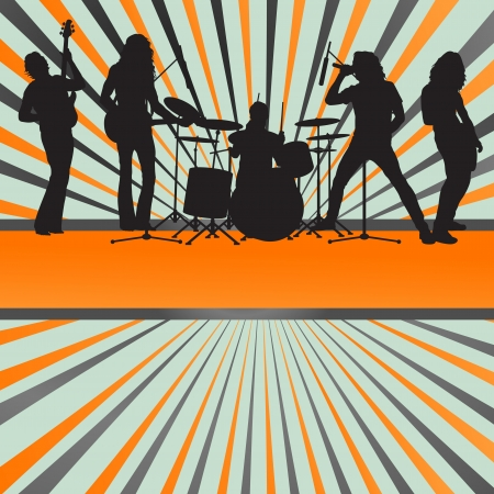 rock guitarist: Rock concert band burst background vector for poster
