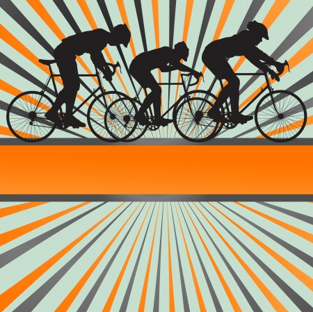 Sport road bike rider bicycle silhouette burst background for poster Stock Vector - 13820911