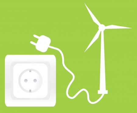 windpower: Socket and wind generator ecology concept background Illustration