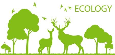 deers: Natural deer ecology concept vector background landscape for poster Illustration