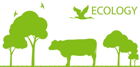 Cow ecology background vector concept landscape for poster Vector