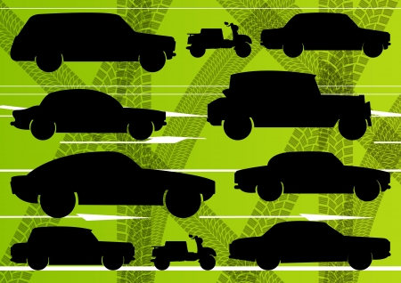 Environmental cars and transportation illustration collection background vector Vector