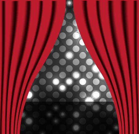 velvet rope: Theater stage with red curtain vector background for poster