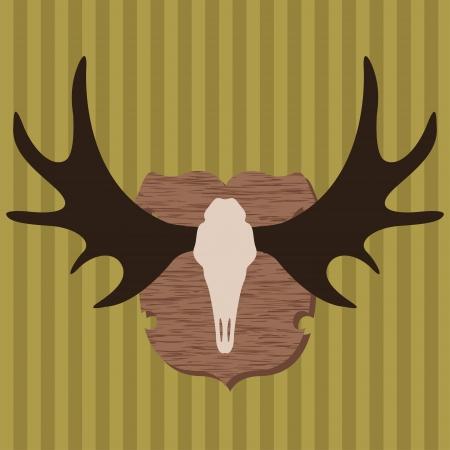 alces alces: Jefe Moose cuernos de caza trofeo ilustraci�n de fondo vector para el cartel