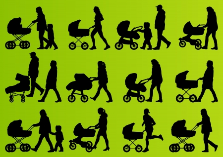 pram: Young family baby pram and carriage detailed silhouettes illustration collection background vector