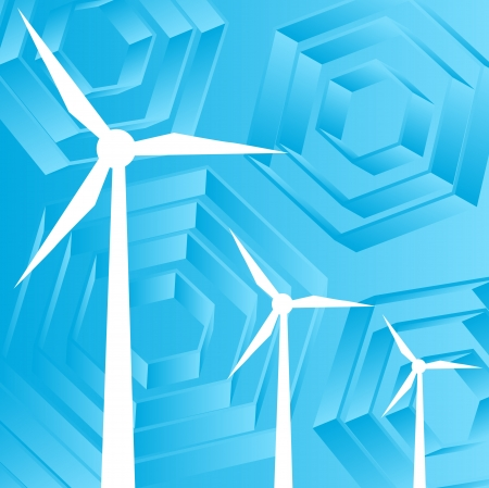 Clean energy concept with wind generators vector background Vector