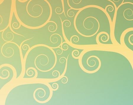 swirly design: Vintage abstract tree swirl vector background for poster