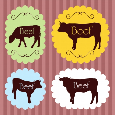 domestic cattle: Beef cattle food labels illustration collection background Illustration