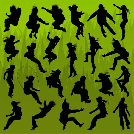 children celebration: Jumping children girl and boy detailed silhouettes illustration collection background vector