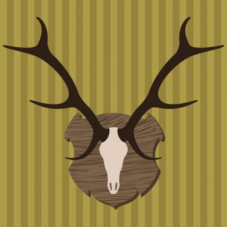 Moose head horns hunting trophy illustration background vector Vector