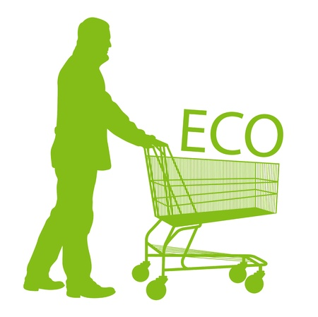 Green ecology food shopping cart concept with man vector background Vector