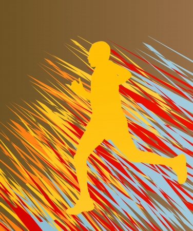 marathon runner: Silhouette of runner vector in front of colorful abstract background
