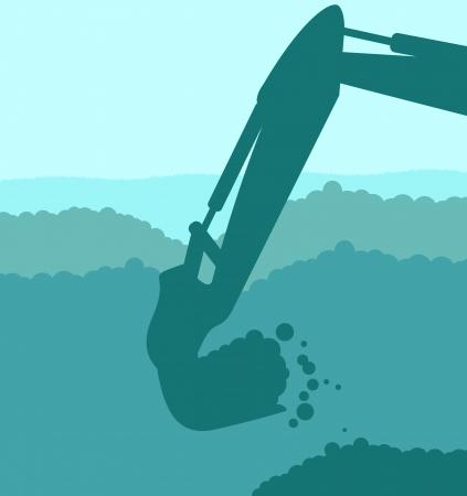 экскаватор: Экскаватор погрузчик на строительной площадке с поднятым ковшом фона вектор