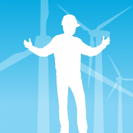 Clean energy concept with wind generators vector background Stock Vector - 14355861