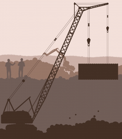 building construction site: Industrial skyscraper city and crane landscape skyline background illustration vector