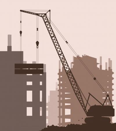 Industrial skyscraper city and crane landscape skyline background illustration vector Stock Vector - 14355856