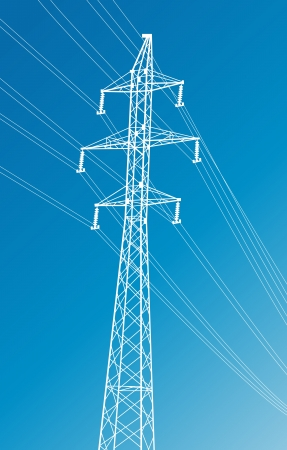 electricity pylon: High voltage power lines and pylon vector background for poster Illustration
