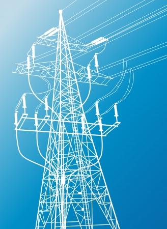 spannung: Hochspannungsleitungen und Pylon Vektor Hintergrund f�r Poster Illustration