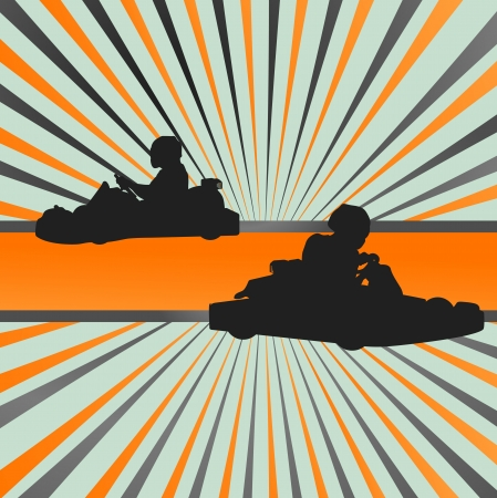 way to go: Go cart drivers race background burst vector for poster Illustration