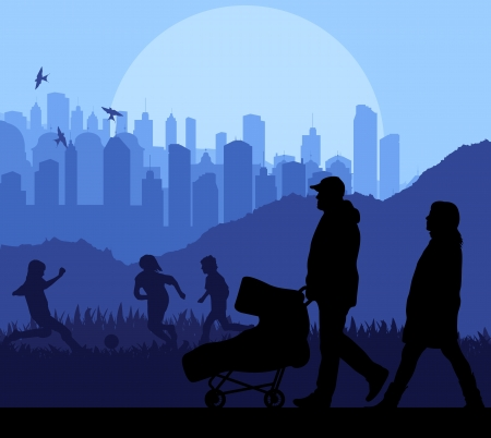 Family and baby stroller vector background in front of city Vector
