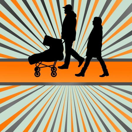 Family and baby stroller vector burst background for poster Vector