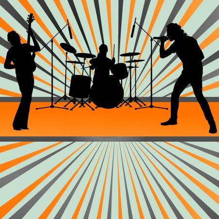 drummer: Rock concert band burst background vector for poster