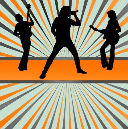 guitarristas: La banda de rock concierto estallido de vectores de fondo para el cartel