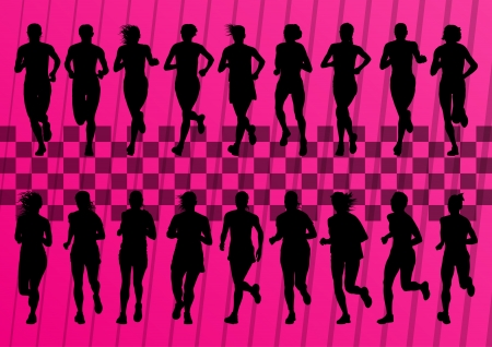 Silhouettes of runners set vector background Stock Vector - 14355885
