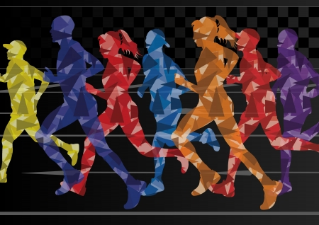 Marathon runners mosaic silhouettes colorful urban city road background illustration vector Vector