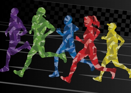 marathon runner: Marathon runners mosaic silhouettes colorful urban city road background illustration vector Illustration