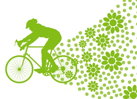 Ecology bike driving vector background concept on white Illustration