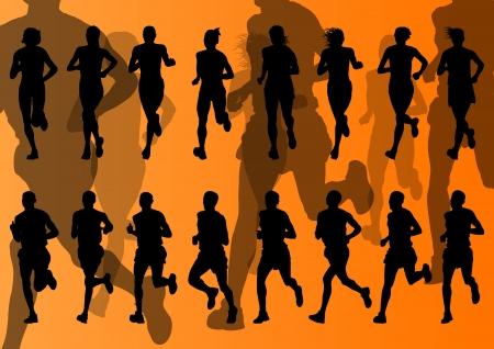 road runner: Marathon runners vector background for poster