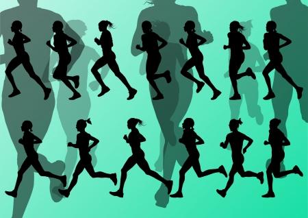 road runner: Marat�n de los corredores de vectores de fondo para el cartel