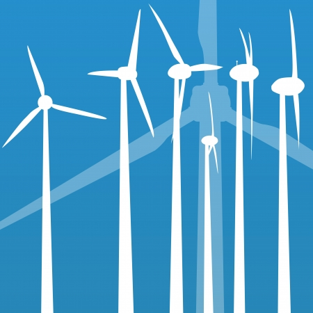 windpower: Wind electricity generators vector background for poster